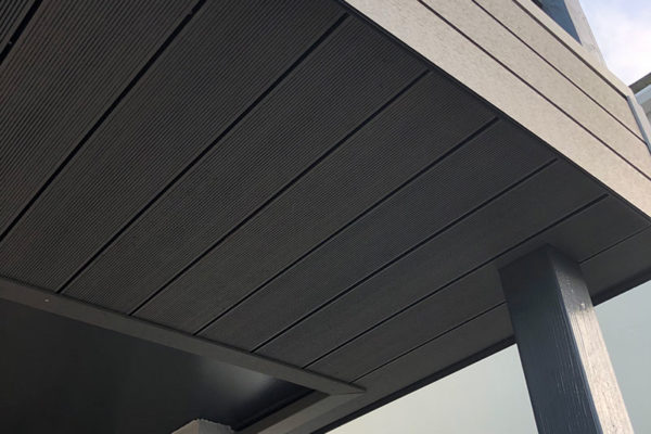Composite Cladding image from underneath-shelter in house in devon