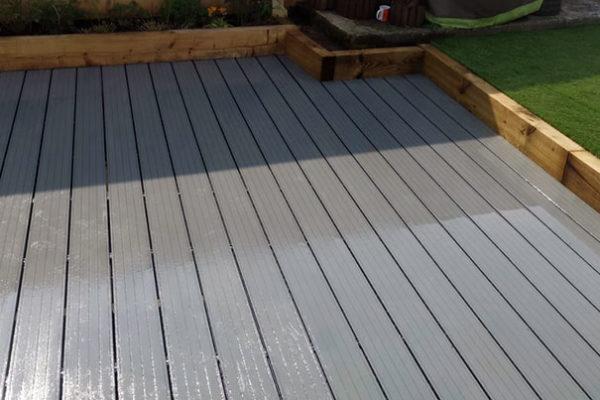 Composite deck in back garden in Torbay