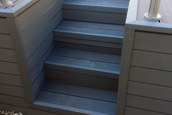 Staircase leading to composite decking project in Torbay